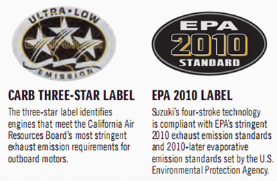 The three-star label identifes engines that meet the California Air Resources Board's most stringent exhaust emission requirements for outboard motors.